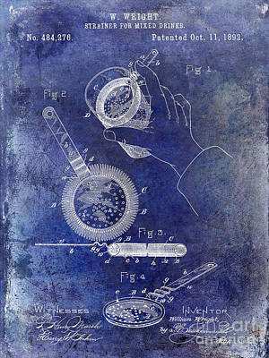 Martini Shaker Photograph - 1892 Cocktail Mixer Blue by Jon Neidert