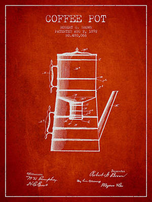 Priska Wettstein Pink Hues - 1892 Coffee Pot patent - Red by Aged Pixel