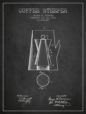 Coffee Drawing - 1892 Coffee Steeper Patent - Charcoal by Aged Pixel