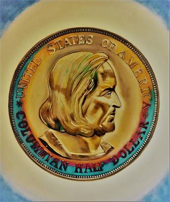 Painting - 1892 Columbian Exposition Half Dollar Ms-70 Tonned by Manuel Sanchez