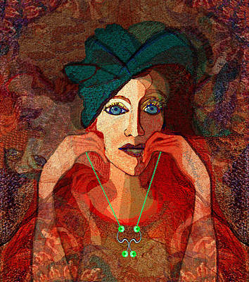 Digital Art - 1892 Lady With Green Hat And Necklace by Irmgard Schoendorf Welch