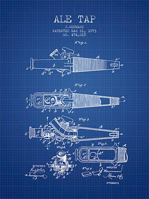 Beer Royalty-Free and Rights-Managed Images - 1893 Ale Tap Patent - Blueprint by Aged Pixel