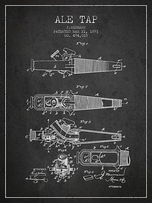 Keg Digital Art - 1893 Ale Tap Patent - Charcoal by Aged Pixel