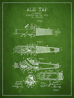 Beer Royalty-Free and Rights-Managed Images - 1893 Ale Tap Patent - Green by Aged Pixel