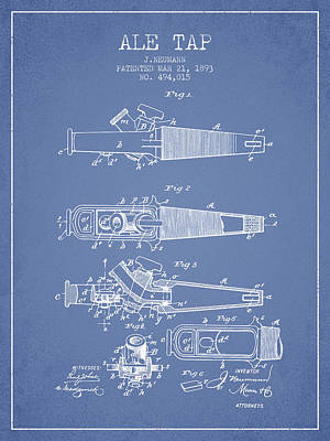 Beer Royalty-Free and Rights-Managed Images - 1893 Ale Tap Patent - Light Blue by Aged Pixel