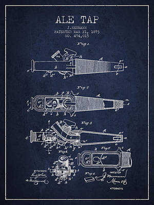 Beer Royalty-Free and Rights-Managed Images - 1893 Ale Tap Patent - Navy Blue by Aged Pixel