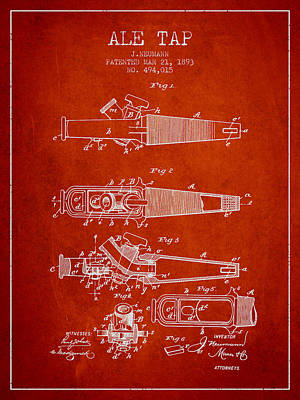 Beer Royalty-Free and Rights-Managed Images - 1893 Ale Tap Patent - Red by Aged Pixel