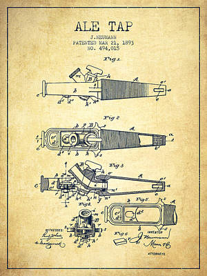 Beer Royalty-Free and Rights-Managed Images - 1893 Ale Tap Patent - Vintage by Aged Pixel