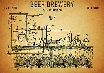 Food And Beverage Drawings - 1893 Beer Brewery Patent by Dan Sproul