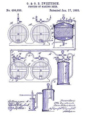 Americana Micro Art Photograph - 1893 Beer Making Patent Blueprint by Jon Neidert