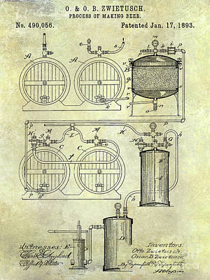 Stein Photograph - 1893 Beer Making Patent by Jon Neidert