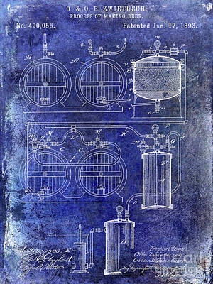 Stein Photograph - 1893 Beer Manufacturing Patent Blue by Jon Neidert