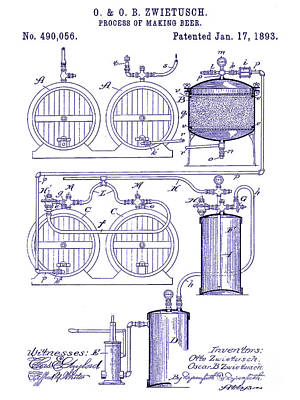 Stein Photograph - 1893 Beer Manufacturing Patent  Blueprint by Jon Neidert