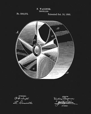 Mechanisms Mixed Media - 1893 Boat Propeller Patent by Dan Sproul