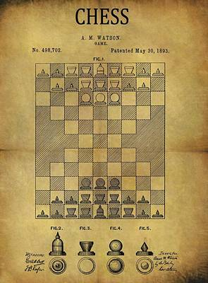 Game Piece Mixed Media - 1893 Chess Game Patent by Dan Sproul