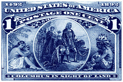 Painting - 1893 Columbus In Sight Of Land Stamp by Historic Image