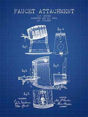 Beer Royalty-Free and Rights-Managed Images - 1893 Faucet attachment Patent - Blueprint by Aged Pixel