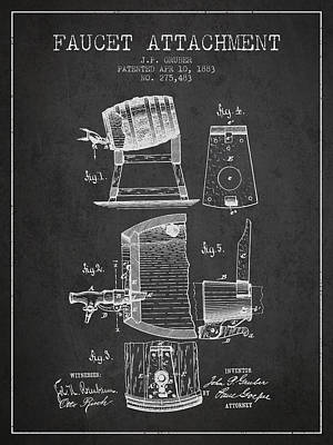 1893 Faucet Attachment Patent - Charcoal Art Print by Aged Pixel