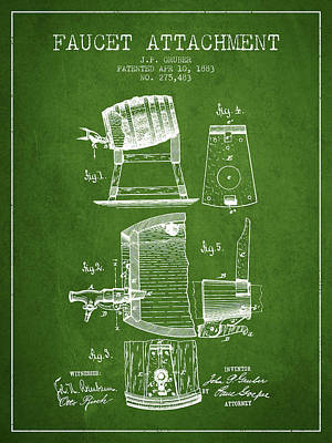 Beer Royalty-Free and Rights-Managed Images - 1893 Faucet attachment Patent - Green by Aged Pixel