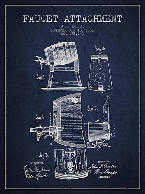 Beer Royalty-Free and Rights-Managed Images - 1893 Faucet attachment Patent - Navy Blue by Aged Pixel