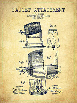 Beer Royalty-Free and Rights-Managed Images - 1893 Faucet attachment Patent - Vintage by Aged Pixel