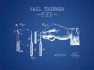 Finger Drawing - 1893 Nail Trimmer Patent - Blueprint by Aged Pixel