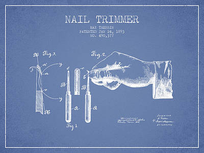Finger Drawing - 1893 Nail Trimmer Patent - Light Blue by Aged Pixel