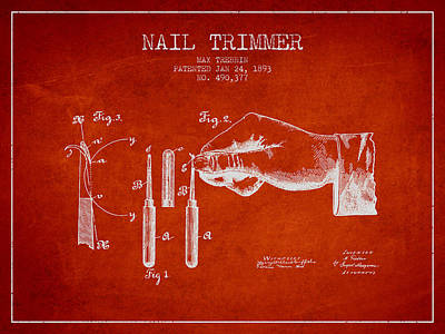Finger Drawing - 1893 Nail Trimmer Patent - Red by Aged Pixel