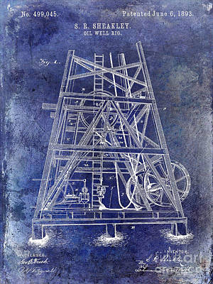 Oil Rig Photograph - 1893 Oil Well Rig Patent Blue by Jon Neidert