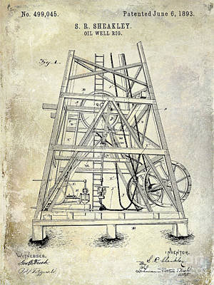 Oil Rig Photograph - 1893 Oil Well Rig Patent by Jon Neidert