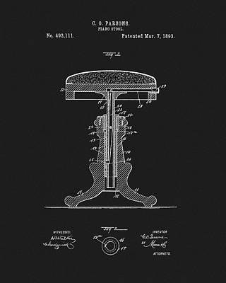 Mixed Media - 1893 Piano Stool Patent by Dan Sproul