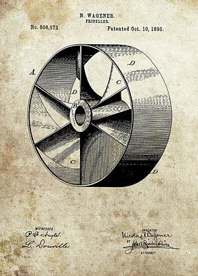 Drawing - 1893 Propeller Patent by Dan Sproul