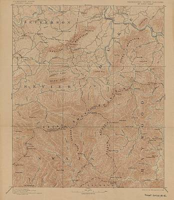 Tennessee Map Drawing - 1893 Smoky Mountains National Park Map by Dan Sproul