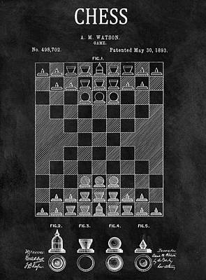 Knight Mixed Media - 1893 Strategy Game Chess Patent by Dan Sproul