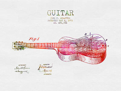 Acoustic Guitar Drawing - 1893 Stratton Guitar Patent - Color by Aged Pixel