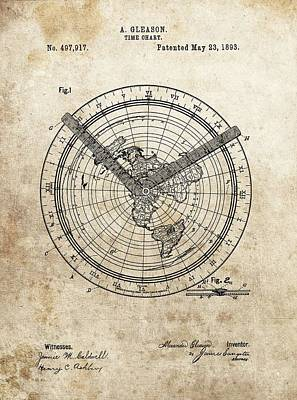 Mountain Drawings - 1893 Time Chart Patent by Dan Sproul