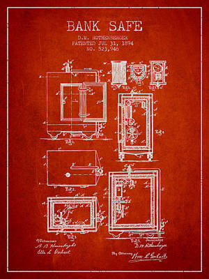 1894 Bank Safe Patent - Red Art Print by Aged Pixel