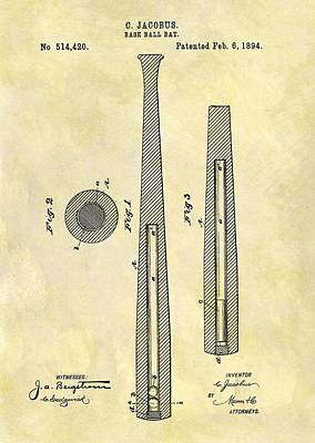 Baseball Art Drawing - 1894 Baseball Bat Patent by Dan Sproul