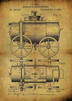 Mixed Media - 1894 Beer Wagon Patent by Dan Sproul