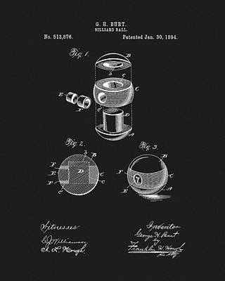 Billiard Mixed Media - 1894 Billiards Ball Patent by Dan Sproul