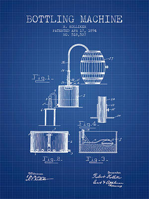 1894 Bottling Machine Patent - Blueprint Art Print by Aged Pixel