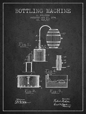 Beer Royalty-Free and Rights-Managed Images - 1894 Bottling Machine patent - charcoal by Aged Pixel