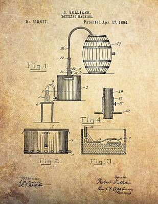 Beer Drawings - 1894 Bottling Machine Patent by Dan Sproul