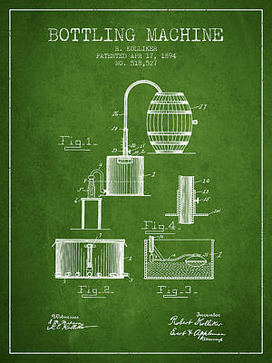 Beer Royalty-Free and Rights-Managed Images - 1894 Bottling Machine patent - green by Aged Pixel
