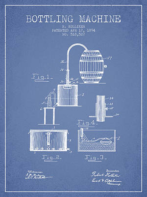 Beer Royalty-Free and Rights-Managed Images - 1894 Bottling Machine patent - light Blue by Aged Pixel