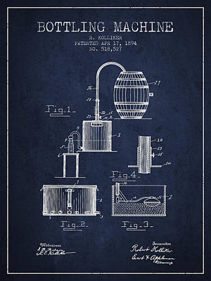 Beer Royalty-Free and Rights-Managed Images - 1894 Bottling Machine patent - navy blue by Aged Pixel