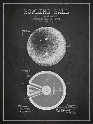 1894 Bowling Ball Patent - Charcoal Art Print