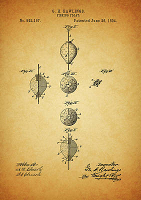 Mixed Media - 1894 Fishing Float Patent by Dan Sproul