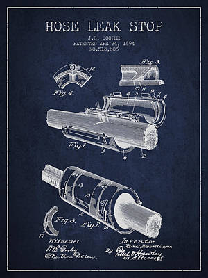 Travel - 1894 Hose Leak Stop Patent - Navy Blue by Aged Pixel