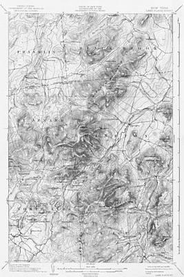 Digital Art - 1894 Lake Placid Geological Survey Map Adirondacks Black And White by Toby McGuire
